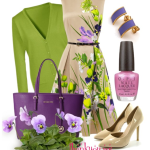 Outfit cu rochie cu print floral geanta si pantofi cu toc