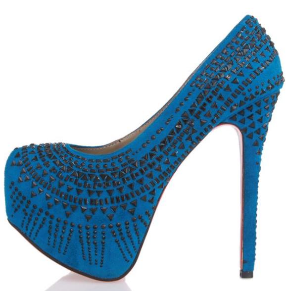 pantofi cu toc si platforma albastri