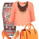 Pantofi portocalii in outfit cu tenta boema