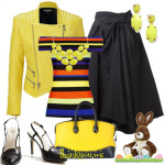 Jacheta de piele galbena in outfit cu fusta neagra