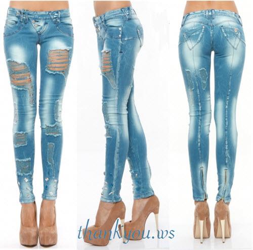 jeans foggi cu rupturi