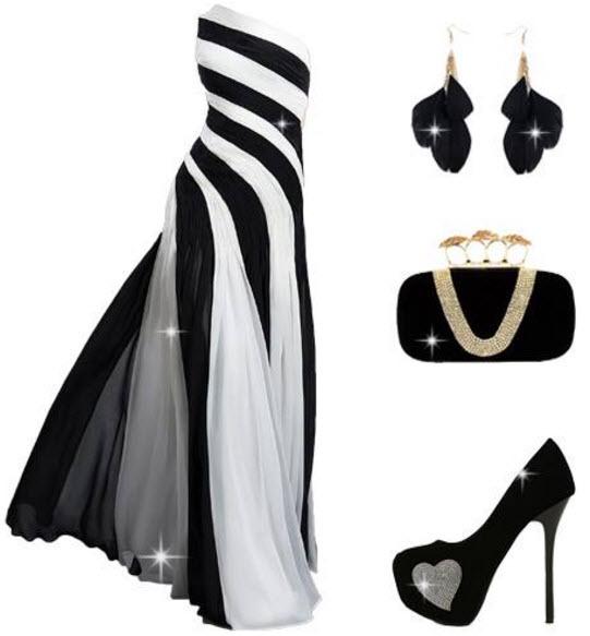 rochie lunga cu trena in alb si negru cu prindere pe un umar