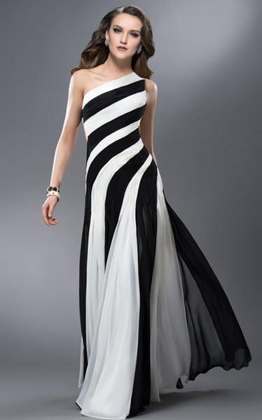 rochii lungi cu trena alb cu negru cu prindere pe un umar