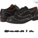 Pantofi Oxfords negri cu tinte si cu decupaje