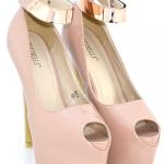 Pantofi lacuiti roz prafuit cu toc inalt – model Kylie