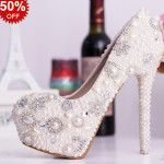 Pantofi de mireasa cu perle si strasuri