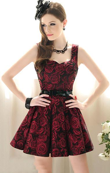 rochie cu imprimeu trandafiri