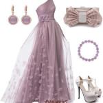 Rochie lunga de ocazie cu voal cu flori – outfit roz prafuit