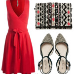 Sandale Aldo intr-un Outfit cu rochie rosie