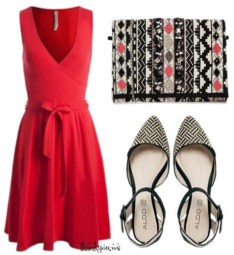 Outfit cu rochie rosie si pantofi josi