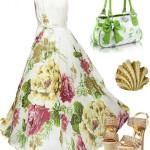 Rochie lunga cu print floral si sandale aurii