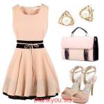 Rochie roz prafuit cu negru fara maneci