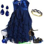 Rochie de seara albastru royal cu volane in outfit cu pantofi animal print