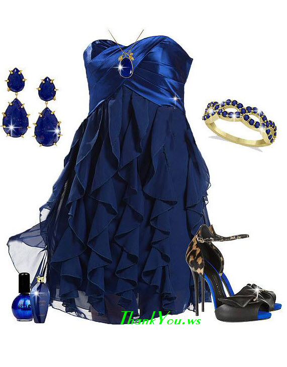 rochie albastru royal cu volane
