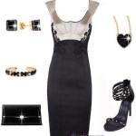 Micuta rochie neagra cu sandale cu toc