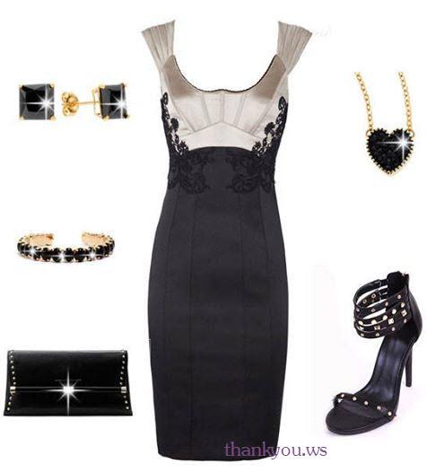 rochii drepte negre de seara in outfit