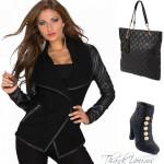 Jacheta cu maneci din piele in outfit cu botine si geanta negre