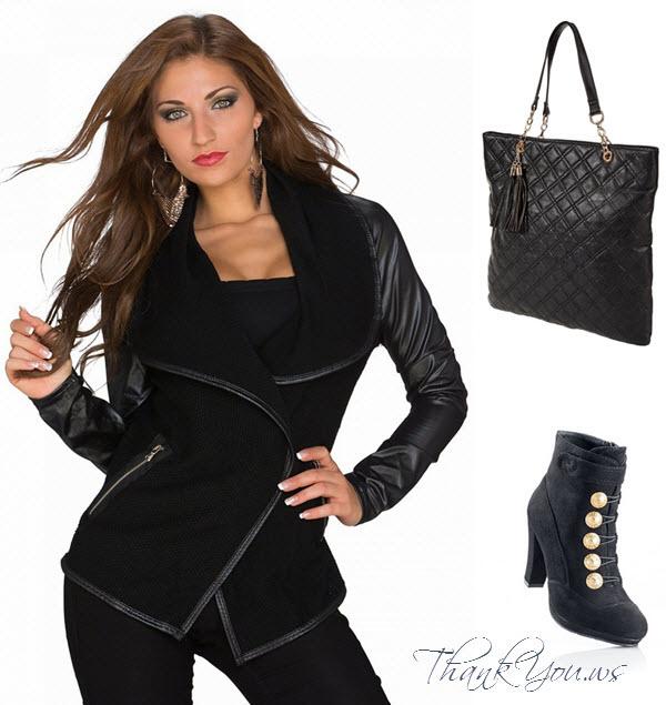 Outfit cu jacheta neagra botine negre si geanta