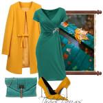 Rochie din jersey by Singh S Madan in outfit cu pardesiu si pantofi galben mustar