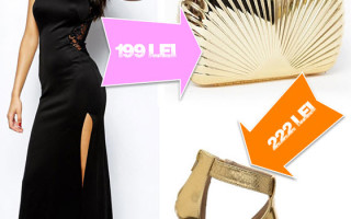 Rochie lunga neagra de ocazie cu sandale aurii si clutch