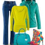 Jeansi cu pulover verde neon si geaca turcoaz