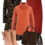 Pardesiu imprimeu girafa cu fusta pulover botine si geanta