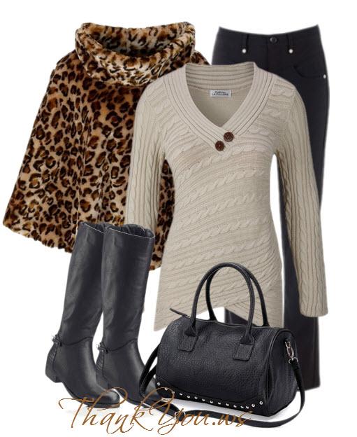 Outfit cu capa de blana cizme pulover blugi si geanta