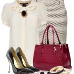 Pantofi cu toc negri si geanta burgundy plus lantisor de inox cu piatra