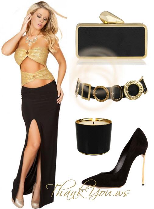 Rochie lunga crapata lateral negru cu auriu