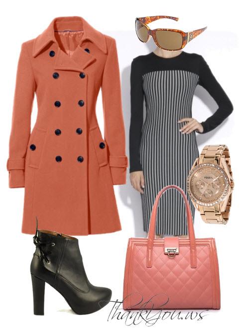 Outfituri business orange cu negru-outfit de birou