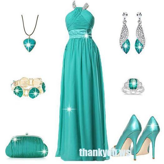 Rochie turcoaz lunga de seara cu pantofi aceiasi nuanta
