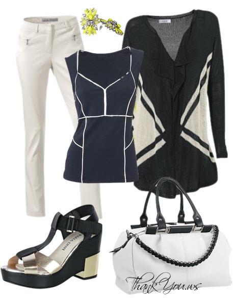 Sandale platforma auriu negru-outfit pantaloni albi vara