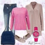Outfit casual cu Jeans stretch-Cardigan over size-Mocasini roz prafuit-Geanta piele-Ceas Guess