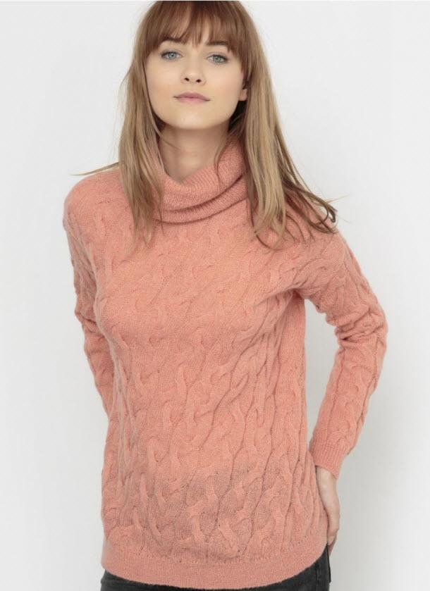 Pulover dama roz cu guler rulat si tricot cu medel cu torsade by R essentiel