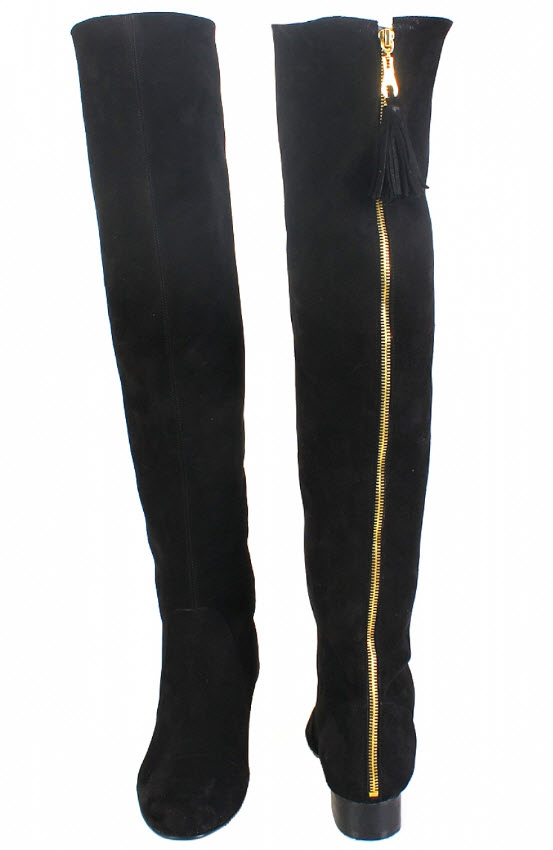 cizme peste genunchi negre cu tocul jos din piele naturala by Thea Visconti
