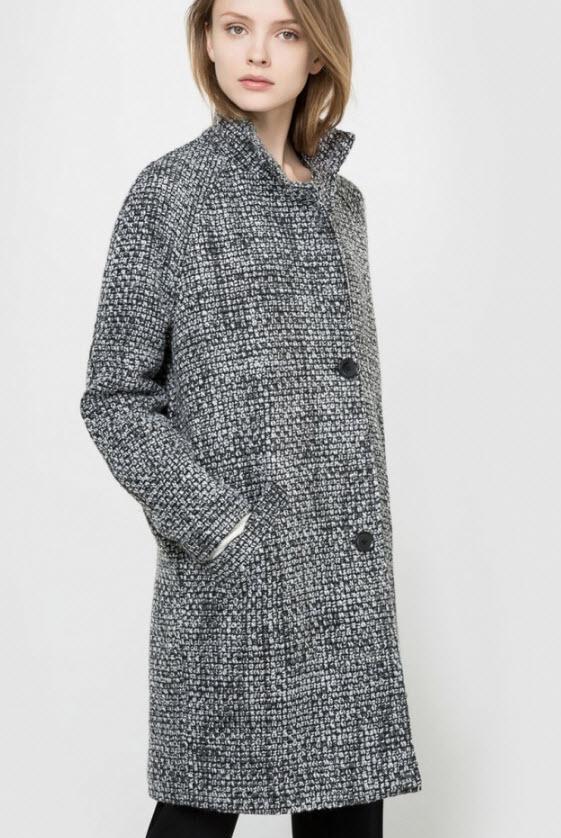 paltoane de iarna gri cu negru cu adaos de lana pentru femei